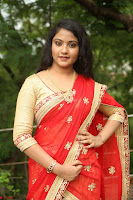 Akshara in Red Saree Golden Choli at LV Movie Makers Production No 1 Movie Opening ~  Exclusive 070.JPG