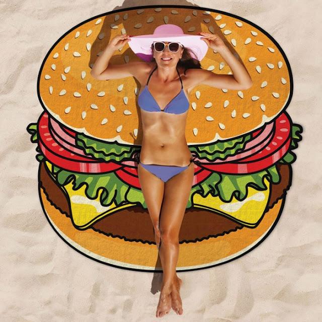 telo mare rotondo telo mare rotondo estate 2017 roundie beach  come indossare il telo mare rotondo telo mare stampa hamburger