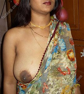 wet saree nude
