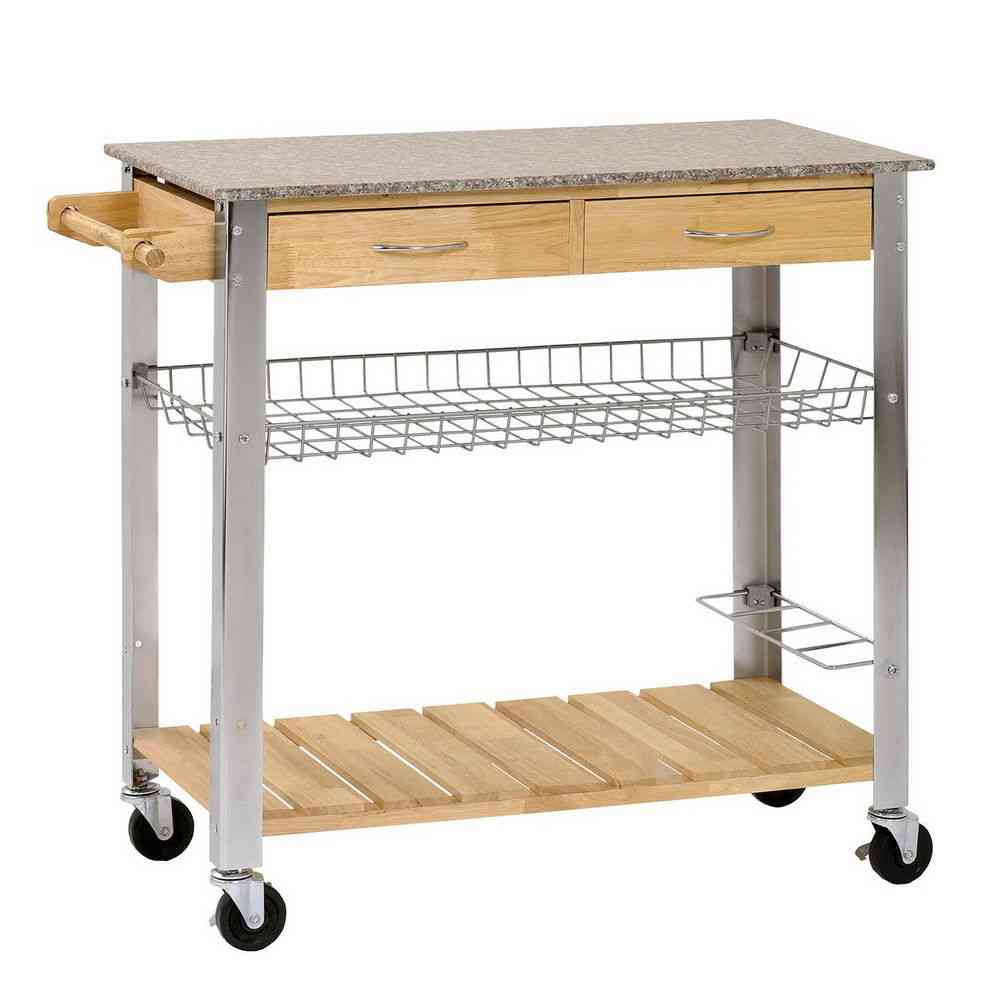 Stainless Steel And Wood Rolling Kitchen Cart With Wheels, Open Shelving,  Rack And Drawers