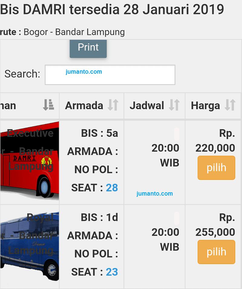 Info Damri Bogor Lampung Dari Jadwal Harga Tiket Pool No Telp