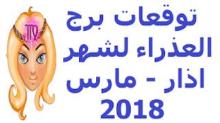 توقعات برج العذراء لشهر اذار - مارس  2018