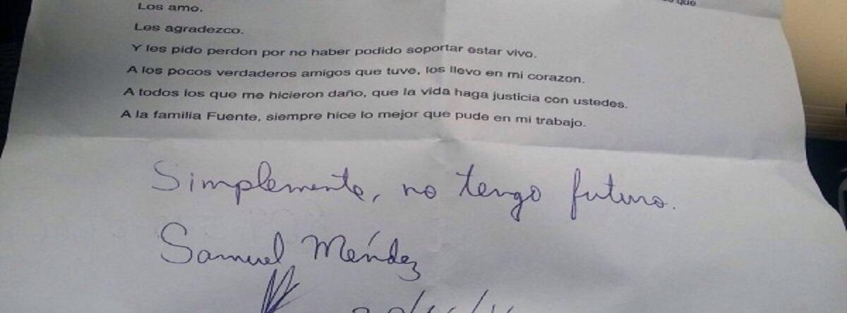 carta Samuel Méndez suicida