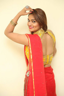 Actress Ashwini Po Shoot Stills In Red Saree With Golden Choli (2).jpg