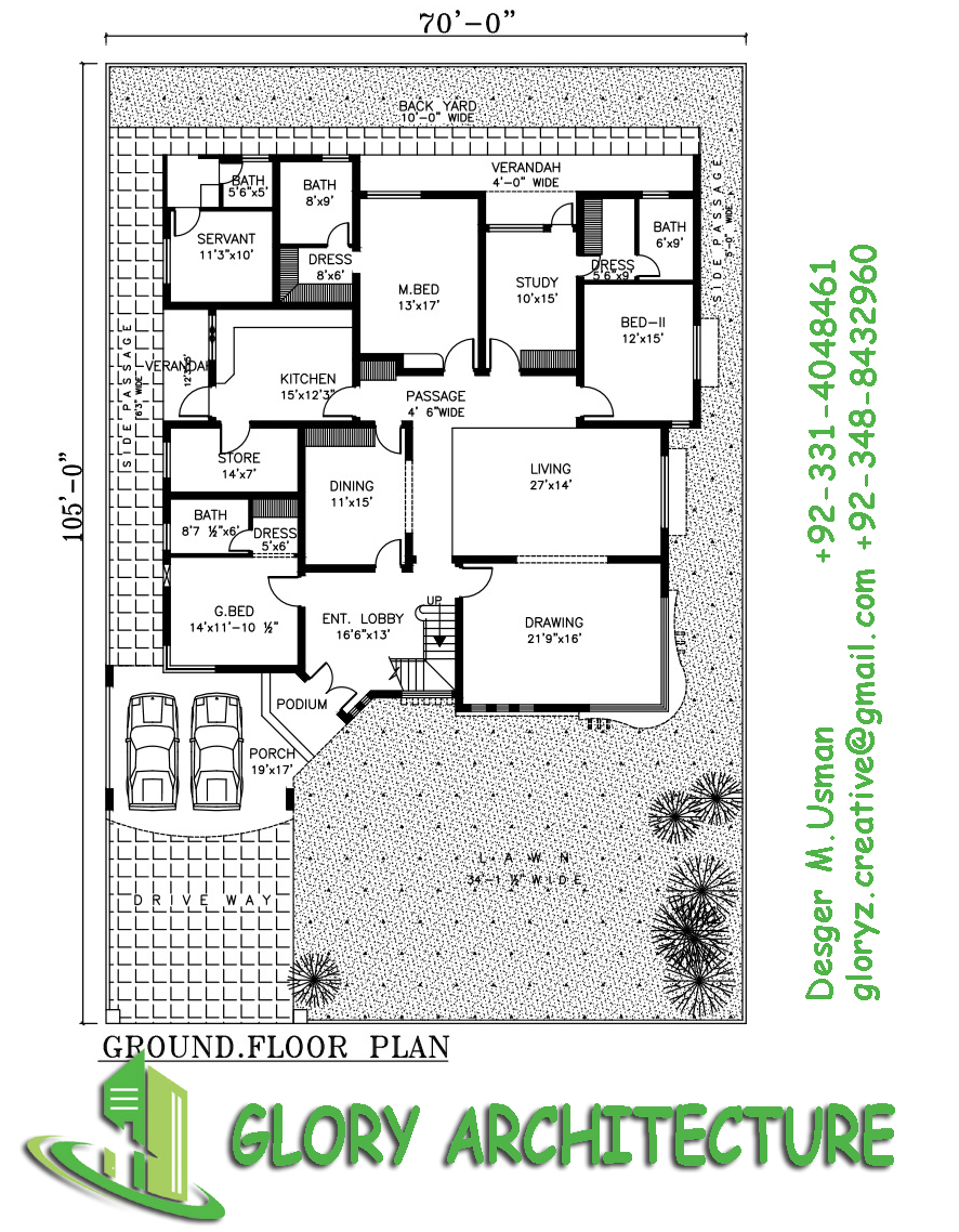 70x100 house plan 1 5 kanal house plan 30 marla house for In plan 3d