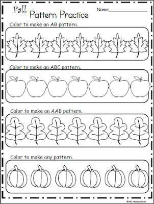 Make Fall Patterns Coloring Worksheet