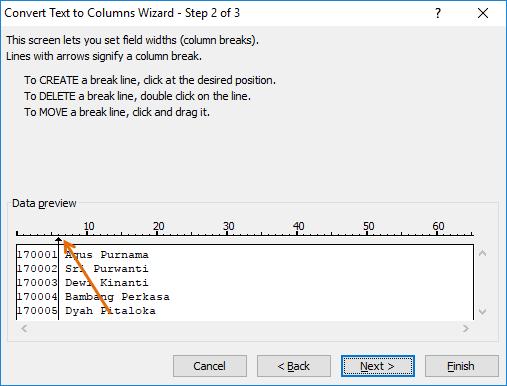 Langkah 2: Text To Columns Fixed Width