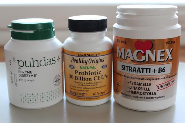 magnesium, probiotics, enzymes