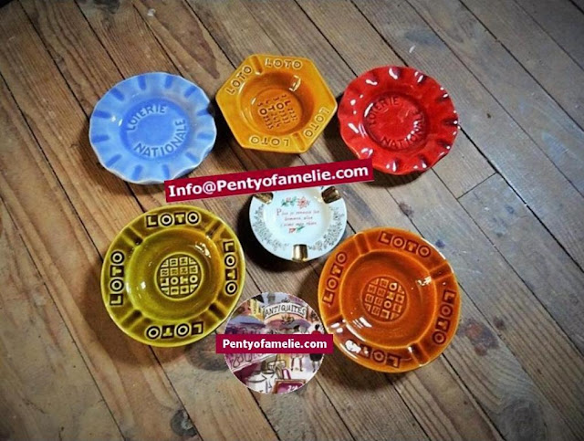 vintage set of French Loto Ashtrays from Gien, St Clement Pottery. National Lottery advertising ash trays.