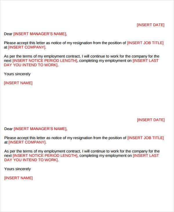 7+ Short Resignation Letter Templates \u2013 Resignation Letter