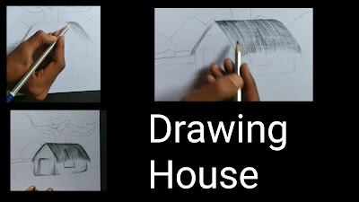 Village scenery drawing, step by step tutorial for kids, easy scenery drawing, step by step tutorial for scenery drawing, how to draw village with pencils, scenery drawing for begginers