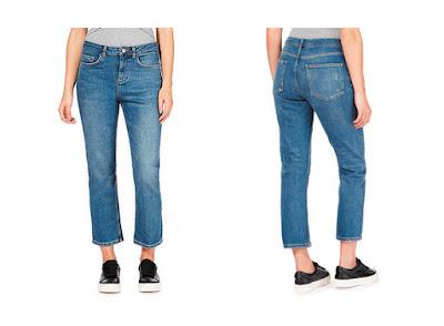 Укороченные расклешенные джинсы на фигуре перевернутый треугольник