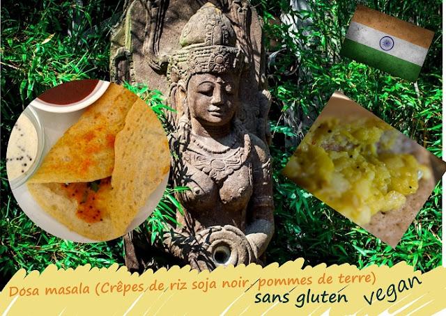 dosa masala, crêpes de riz farcies aux pommes de terre épicées (sans gluten, vegan)