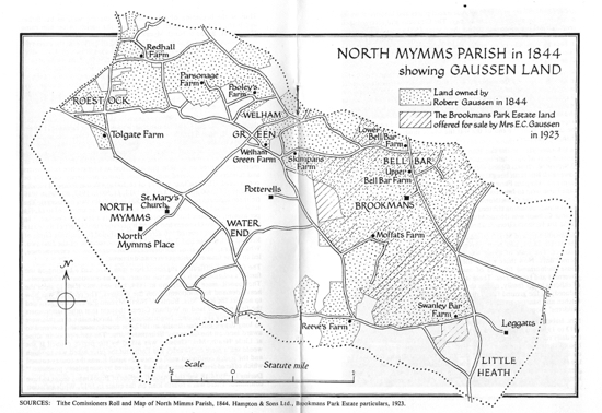 A map of North Mymms Parish in 1844