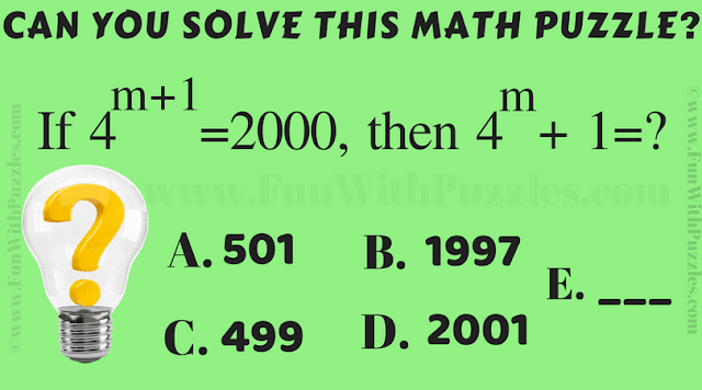 It is Math exponent Brain Twister puzzle for adults in which you have to solve the given algebraic equation.