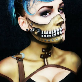 Steampunk special fx makeup with gold robot skeleton for men and women.