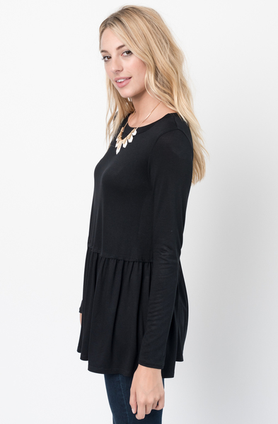 Buy Now Black Ruffled Long Sleeve Tunic Online $34 -@caralase.com