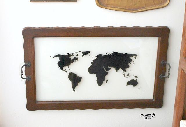Vintage Glass Framed Serving Trays Repurposed As Map Wall Art #stencil #upcycle #repurpose #worldmap #maps #mapdecor #vintage #fusionmineralpaint