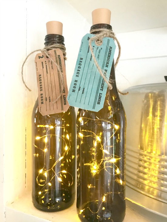 DIY Recycled Corked Bottles with Fairy Lights