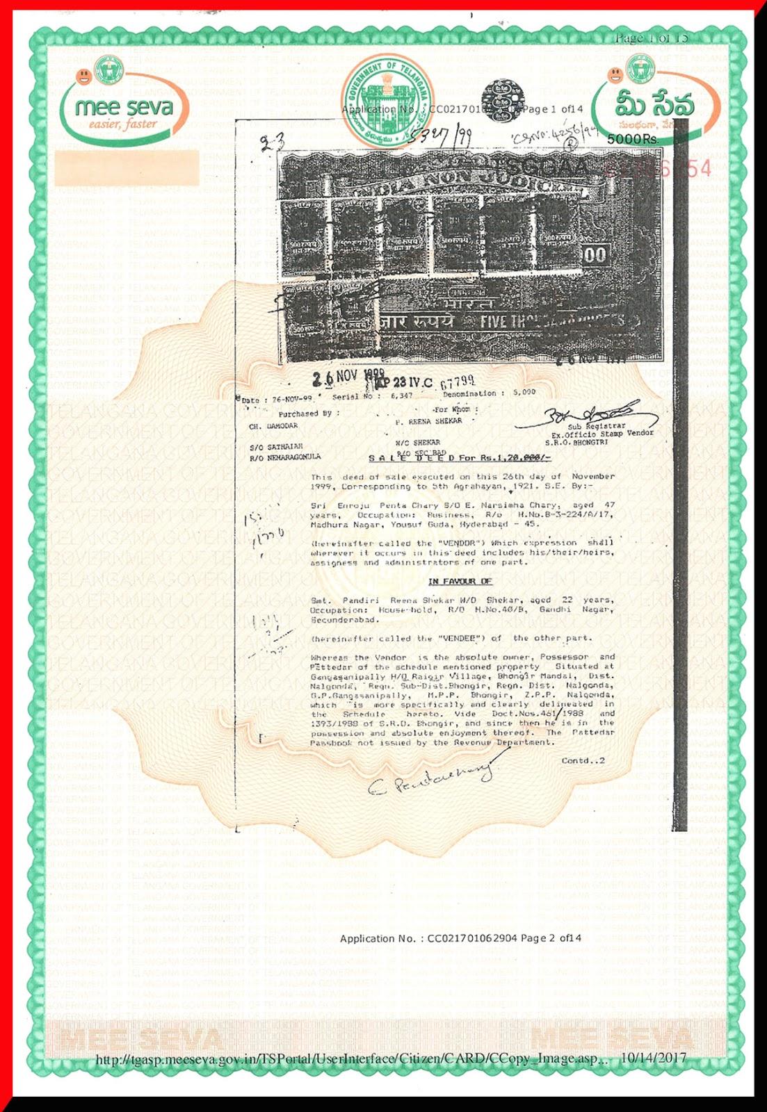 Sale Deed No. 5327-1999-ASD