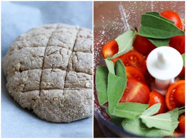 Buttermilchbrot, Brot, Aufstrich, Tomaten-Salbei-Ziegenkäse-Aufstrich, Frühstück, Fleurcoquet