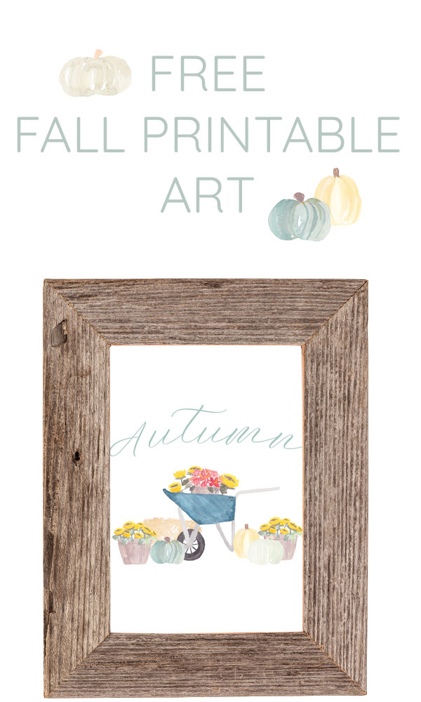 The cutest fall watercolor pumpkin art for autumn decor! Free printable download!