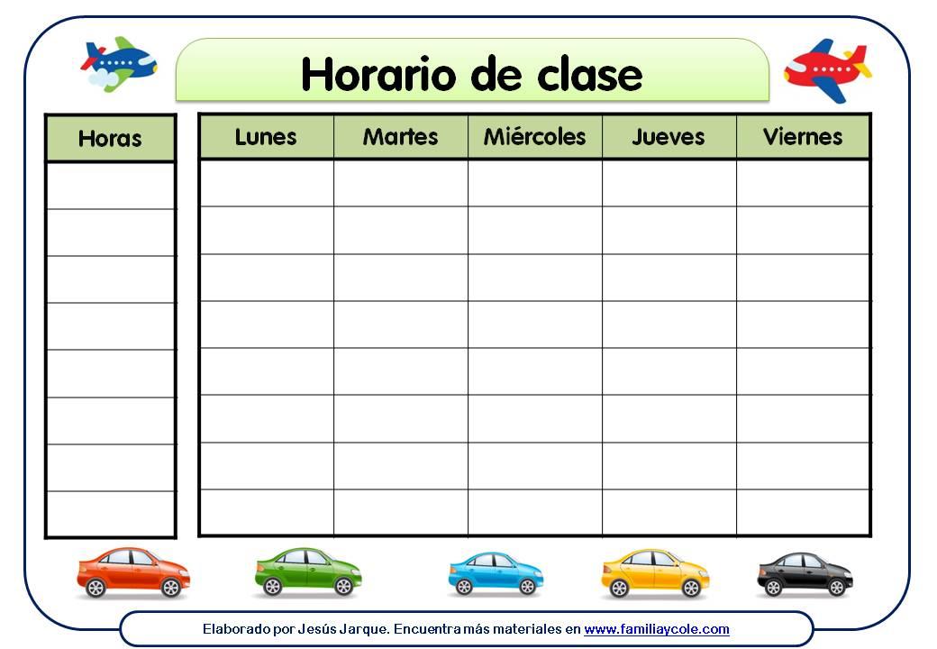 Modelos de horarios escolares materiales educativos para - Casa del libro valencia horario ...