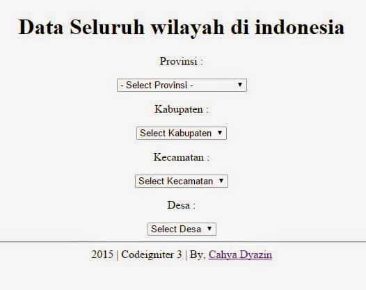 Membuat Dropdown Select Data Wilayah Seluruh Indonesia CI3