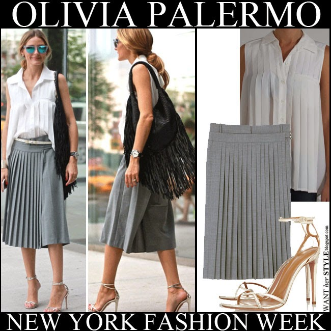 d8ab6be26a97 WHAT SHE WORE  Olivia Palermo in grey pleated skirt with white ...