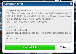 lost saga error code 106 fix