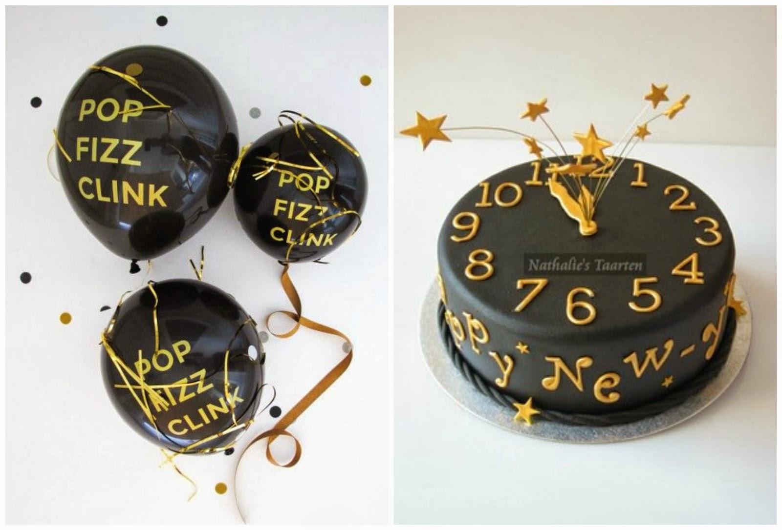 balony i tort w czerni