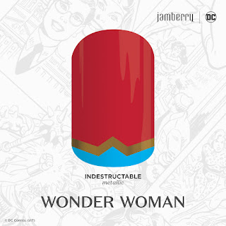 Inspired by DC Wonder Woman and her indestructible trademark bracelets, this red, blue, and gold metallic design wears just like a suit of armor. #IndestructibleJN  © DC Comics. (s17) Noel GIger Jamberry