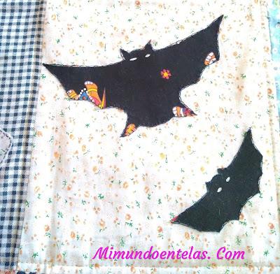apliques de casa y buho para manta de patchwork halloweem