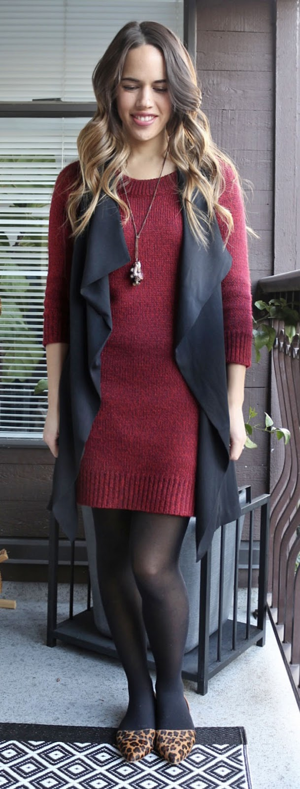 Jules in Flats - Joe Fresh Sweater Dress, Dynamite Waterfall Vest