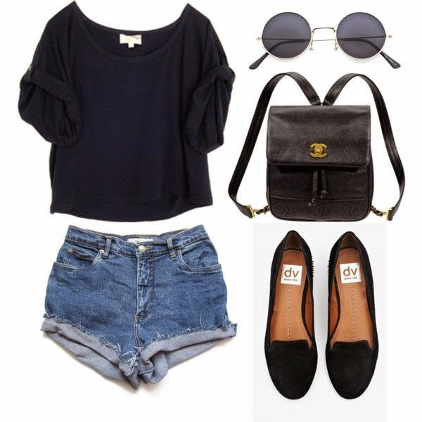 top, stretchy high waisted shorts and loafers flats