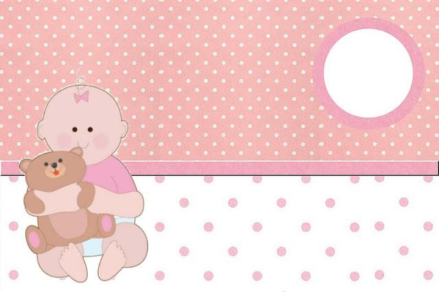 Chá De Bebê Menina Com Ursinho Kit Completo Com Molduras Para