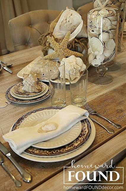 antiques, beach style, coastal style, color palettes, entertaining, fall, farmhouse style, found objects, neutrals, rustic style, seashells, summer, tablescapes, vintage, white dishes