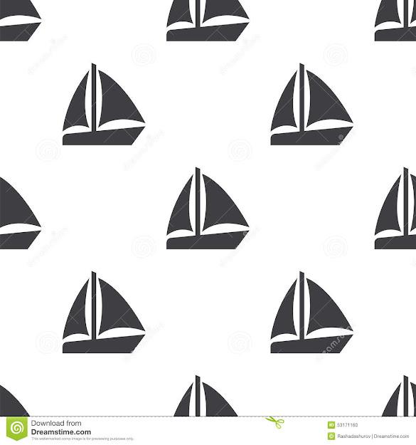 Sail Boat Vector Seamless Pattern
