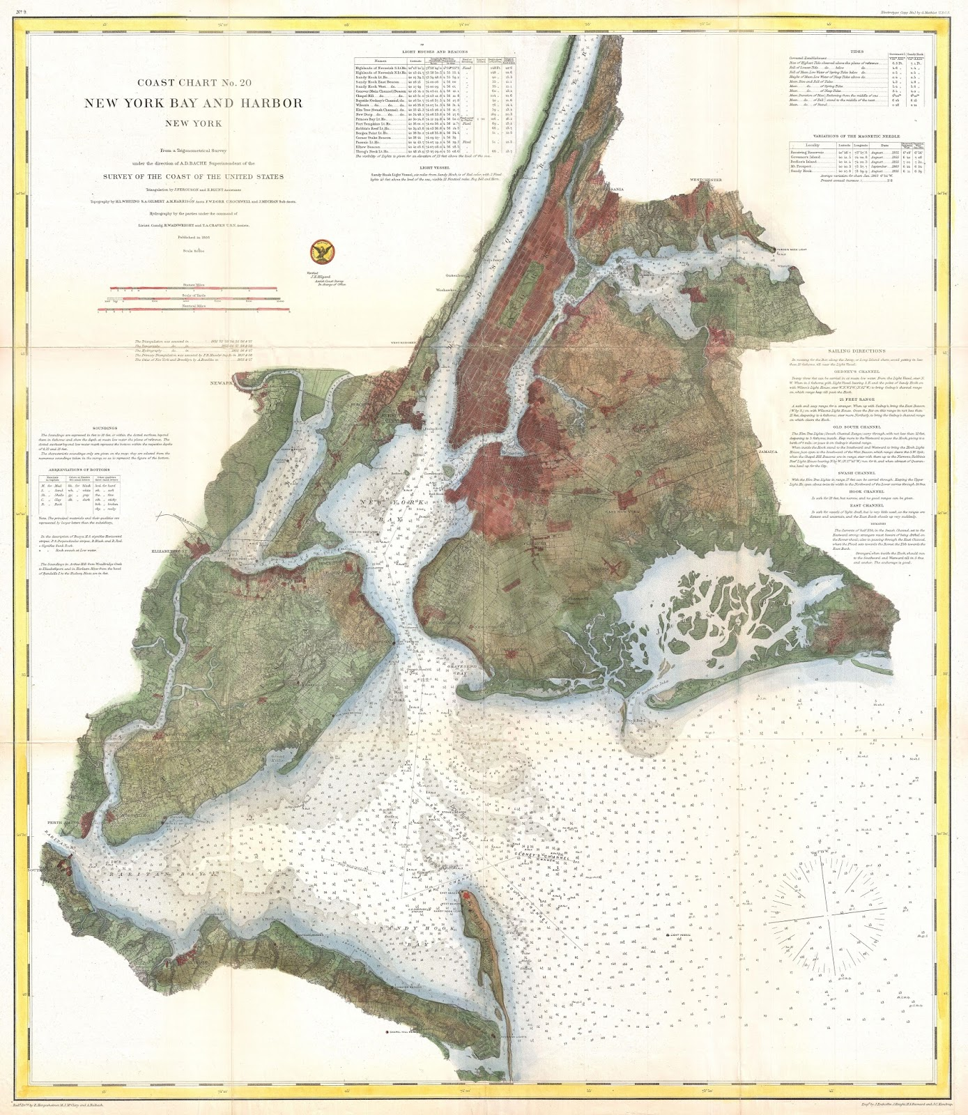 Coast Survey Nautical Chart of Map of New York City & Harbor (1866)