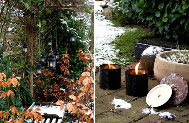 Julelys i haven - både lanterner og blus