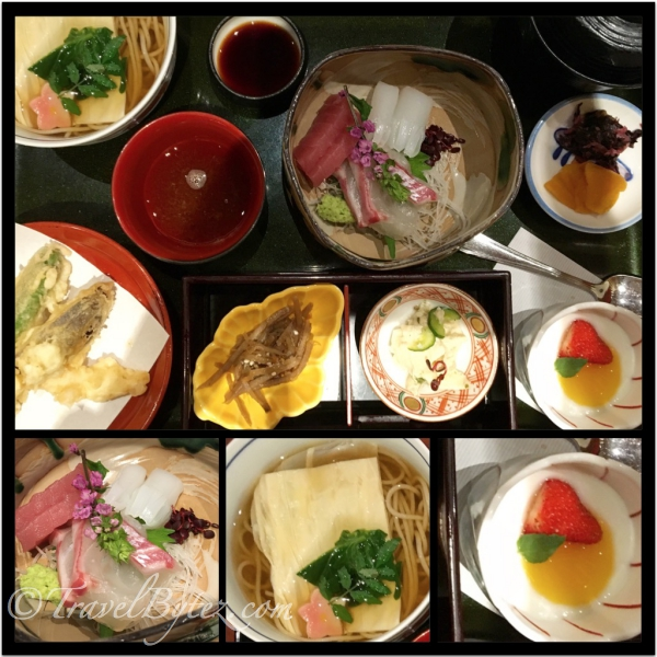 Rice and Soba served with Tempura, Sashimi (more than Set 1), Egg Salad, Pickles and delightful dessert.
