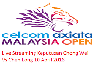 Keputusan Chong Wei Vs Chen Long 10 April 2016