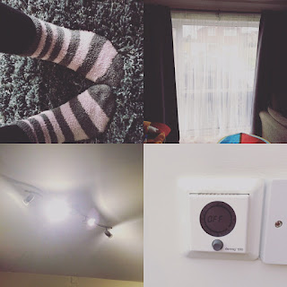 A block of 4 pictures, one of fluffy socks on a thick rug, a window with dark curtains, a set of lights with led bulbs and thermostat showing off