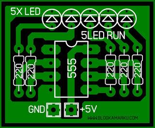 Cara membuat lampu led berjalan sederhana dengan IC 555