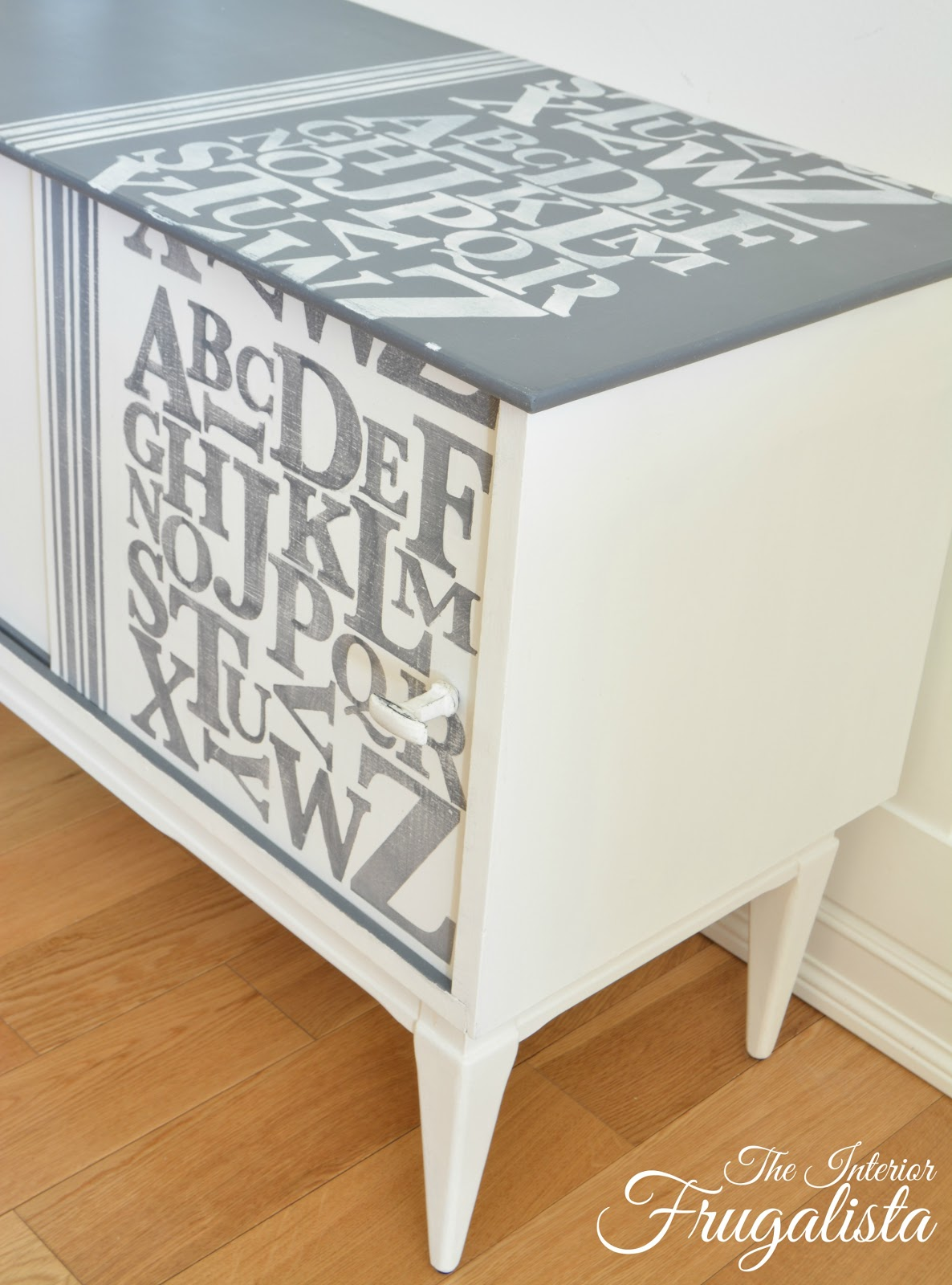 Stenciled Mid Century Modern Record Cabinet