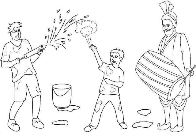 Happy Holi Colouring Page, Holi Colouring Page Images, Pictures, Greeting, Blank Holi Photos for Drawing