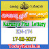 Karunya Plus Lottery KN-174 Results 17-8-2017