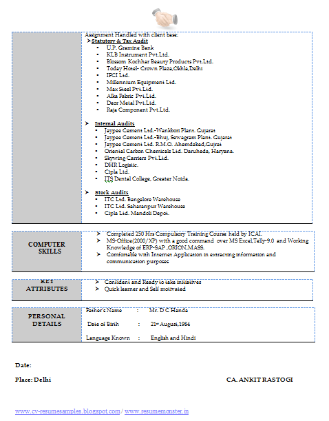 experience resume format download