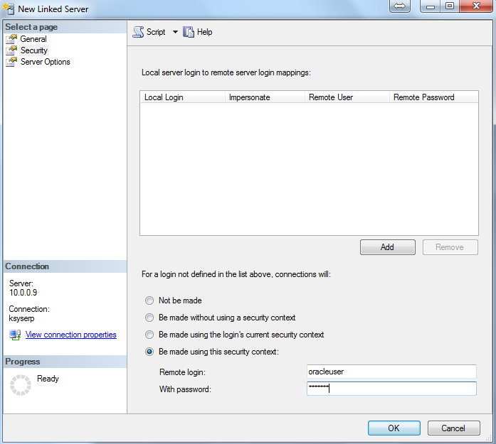 How to connect to oracle database from sql server management