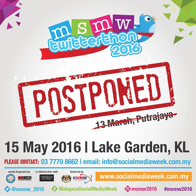 Postponement of MSMW Twitterthon 2016